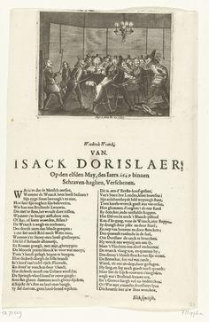 Anonymous | Moord op Isaäc Dorislaer, 1649, Anonymous, Hugo Allard, 1649 | De moord gepleegd op Isaäc Dorislaer door een groep gemaskerde mannen in herberg De Zwaan op de Plaats te 's-Gravenhage, 12 mei 1649. Doreslaer was als gezant door Cromwell uit Engeland naar de Republiek gezonden. Op het blad is onder de prent een vers in 2 kolommen gedrukt, gesigneerd: Elck sijn tijdt.