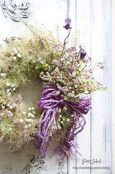 ふわふわ小花のウェルカムリース*この、もやもやっとした感じ、結構好きです!