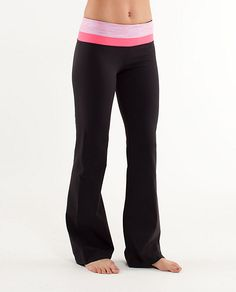 My favorite yoga pant ever. Lululemon Groove pant. So comfortable, does not restrict movement in any way, makes your butt look fantastic and has a key/money pocket in the waistband! I need a few more
