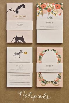 "These notepads from Rifle Paper Co make me want to get my office and desk in ""back-to-school order"" with objects that inspire me to plan, organize and be prepared for the rest of the year.  I wanted to provide more detailed information about the new line of notepads and calendars for 2012 with these delightful paintings but the high traffic from Design Sponge I must have eaten their server. Hopefully, it'll be back up now.  (via Design*Sponge)"