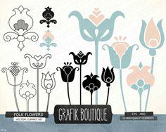 Folk flowers digital vector clip Paper Background Design, Flower Boutique, Flower Clipart, Vector Clipart, Stationery Paper, Folk, Clip Art, Invitations, Digital