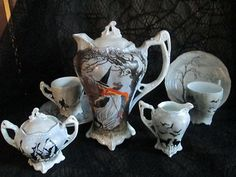 OH My GOSH!!!!!! LOVE!!!!!! New OOAK Hand painted Halloween china tea / coffee set black cat witches lamp