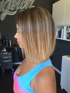 High Ombre, blonde on slightly a line Bob. Blonde Ombre with Balayage