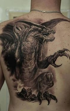 Large Scary 3D Dragon Tattoo On The Back