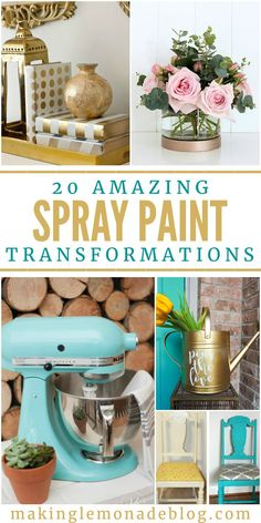 20 Amazing Spray Paint Transformations - Home Decor Design Spray Paint Projects, Spray Paint Furniture, Diy Spray Paint, Cool Diy Projects, Spray Painting, Painting Tips, Painting Furniture, Spray Paint Flowers, Weekend Projects