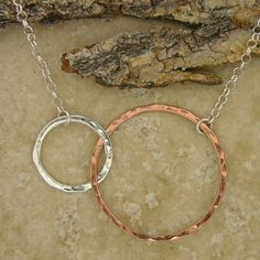 Hammered Sterling Silver and Copper Interlocking Circles Necklace