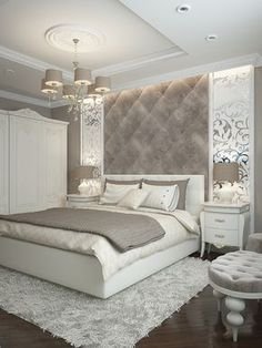 While glittering living rooms and blinding entryways are often the rule, Luxury Master Bedroom interior design is more restrained. Dream Rooms, Dream Bedroom, Home Bedroom, Modern Bedroom, Bedroom Decor Elegant, Taupe Bedroom, Budget Bedroom, Pretty Bedroom, Bedroom Wall