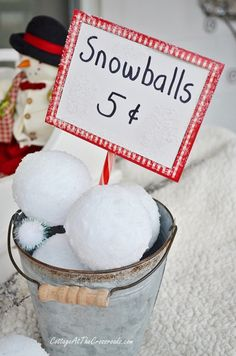 Snowballs - Styrofoam ball, roll in glue, then in epsom salts. So clever! - Christmas on the Front Porch-Cottage at the Crossroads
