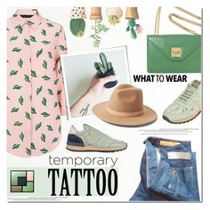 """""""Today's Tattoos------Cactus"""" by anna-anica ❤ liked on Polyvore featuring American Retro, J.Crew, Valentino, CÉLINE, Yves Saint Laurent, Lack of Color and temporarytattoo"""