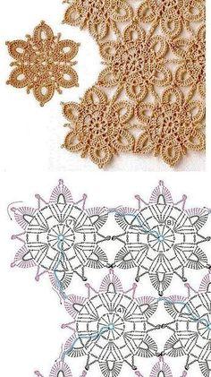 Книга: Continuous Crochet Motifs 2016 (Б - Diy Crafts - maallure Crochet Snowflake Pattern, Crochet Motif Patterns, Crochet Snowflakes, Granny Square Crochet Pattern, Crochet Diagram, Crochet Squares, Crochet Designs, Irish Crochet Charts, Crochet Tablecloth