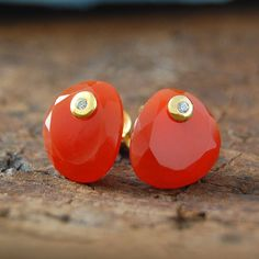 Double set stone Carnelian stud earrings
