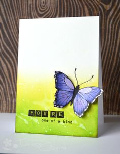 It's time for a new Colour Challenge at AnnaBelle Stamps! Butterfly on watercolor background
