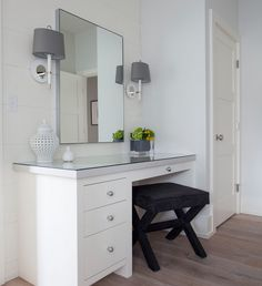 Milton Development - bathrooms - Ventana Wall Sconce, built in dressing table, glass topped dressing table, white dressing table, black x bench, velvet x bench, x bench vanity stool, round nickel pulls, pierced ginger jar, floating frame mirror, metal framed mirror, modern white wall sconce, jonathan adler wall sconce, shiplap paneled walls, wide wood planked walls, mid century style wall sconce, built in dressing table ideas, x stool, black x stool, black vanity stool, black velvet stool…