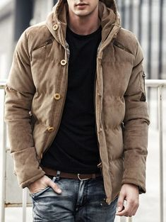 488aa2a9a4 Single-Breasted Hooded Corduroy Thicken Zip-Up Padded Jacket - KHAKI M  Jaquetas