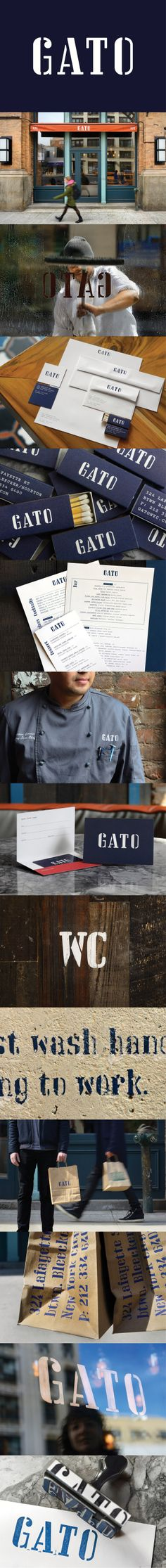 Gato, the new restaurant from chef Bobby Flay. Identity by Pentagram. Project Team: Michael Bierut, partner-in-charge and designer; Photos by Martin Seck. Branding, Brand Identity, Chef Bobby Flay, Michael Bierut, New Work, Fonts, Restaurant, Logo, World