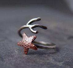 copper starfish coral ring, hapagirls