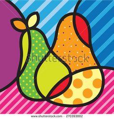 Sweet Pear. Fruits. Garden. Pop-art modern illustration for your design.  - stock vector