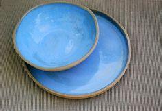 Blue Organic Ceramic Dinner Plate and Bowl Set