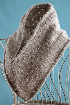 Simple Eyelet Cowl: made with roughly 200 yards of sock weight yarn and size US 2 needles