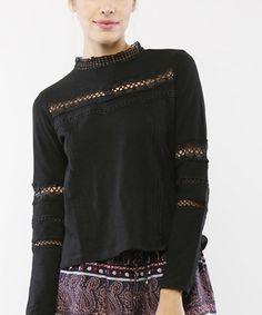 Look at this #zulilyfind! Black Lace-Inset Top #zulilyfinds