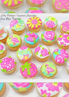 Lilly Pulitzer inspired buttercream-frosted cupcakes!  Free blog tutorial on MyCakeSchool.com.