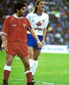 Diego y Fernando Redondo, Sevilla VS Tenerife España Vintage Football, Football Soccer, Tenerife, Running, Retro, Goat, Madrid, Collection, Sevilla