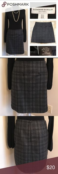 """KATHERINE BARCLAY Grey Plaid Wool Skirt Very classy looking wool skirt. Marked size 4. Shown in my size 6 mannequin. It looks like it might run larger than the size 4. Please compare measurements with something in your closet. Fully lined. Dry clean only. Only selling Skirt in this listing. Waist measures 31"""" inches. From waist to hem measures 19"""" inches Katherine Barclay Skirts Mini"""