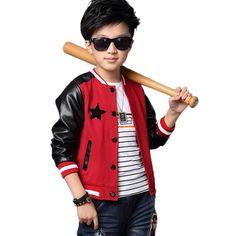 32.75$  Watch now - https://alitems.com/g/1e8d114494b01f4c715516525dc3e8/?i=5&ulp=https%3A%2F%2Fwww.aliexpress.com%2Fitem%2F2016-New-Fall-Winter-Five-Pointed-Star-Pattern-Cotton-Artificial-Leather-PU-Stitching-Fashion-Casual-Boy%2F32741116206.html - 2016 New Fall / Winter Five-Pointed Star Pattern Cotton Artificial Leather PU  Stitching Fashion Casual Boy/Girl Baseball Jacket