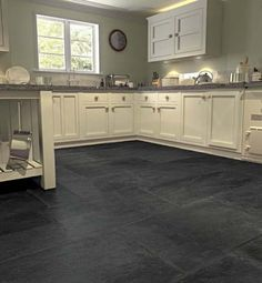 Superior Black Kitchen Floor Slate Floor Tilelike The Medium Grey With Darker Grout