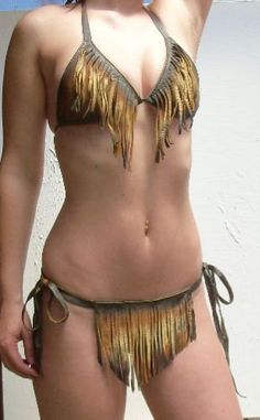 Leather Sexy Bikini in Distressed Colored Deerskin by dleather