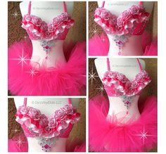 Pink Floral Rave Outfit  Rave Bra TuTu EDC Outfit by VinylDolls