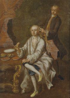 Gentleman in undress having his hair dressed while eating breakfast. Gennaro Basile, c.1750