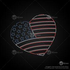 Desenho de strass Coração EUA - Ref.: 1121