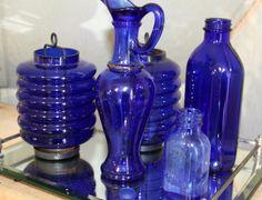 Blue Glass Bottle Lot Medicine Bottles Candle by TheOldJunkTrunk, $50.00