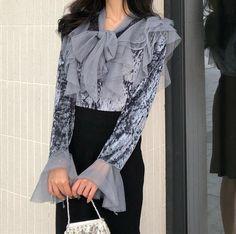Ethnic Fashion, Women's Fashion, Fashion Outfits, Long Sleeve Tunic, Chiffon Shirt, Fashion Styles, Shirt Blouses, Blouses For Women, Shirt Style