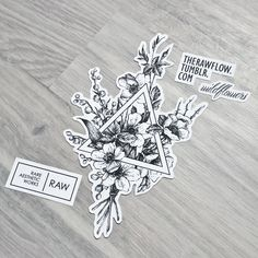 Dotwork wildflower bouquet with triangle - custom design, would look stunning on sternum, forearm or thigh areas. Only one shot: skinque.com/limited
