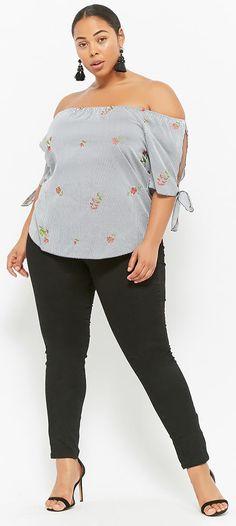 Plus Size Pinstriped Floral Embroidered Top // #plussize #swimwear #plussizefashion #curvyfashion #swimsuit #bikini #swimdress