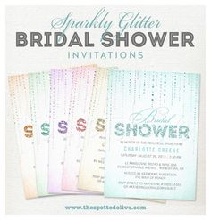 Sparkly Glitter Bridal Shower Invitations by The Spotted Olive™. #wedding #bridalshower #glitter