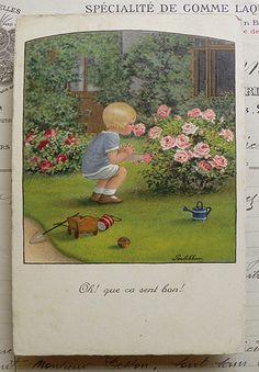 PauliEbner薔薇の香り アンティーク絵葉書ポストカード Antique postcard ¥900円 〆03月25日