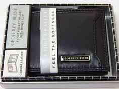 GEOFFREY BEENE Front Pocket Black Wallet With Money Clip  #GeoffreyBeene #Frontpocketwalletwithmoneyclip