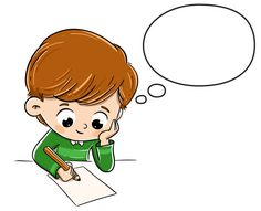 Boy thinking while writing something on a paper , Drawing Lessons For Kids, Art Drawings For Kids, Cute Drawings, Art For Kids, Boarder Designs, Person Cartoon, Kids Background, School Clipart, Kids Writing