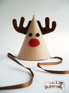 Christmas Rudolph the Red Nose Reindeer Party Hat Costume For Dogs. $8.50, via Etsy.