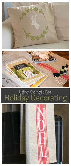 Use Stencils for Easy Holiday Decorating! Deck the Halls! Looking for a way to bring Creativity into your Holiday Decor? Use easy to find items like pillow covers or dish towels, along with stencils to decorate your home for the Holidays. Enjoy crafting your own decorations this Christmas! - featuring Royal Design Studio stencils