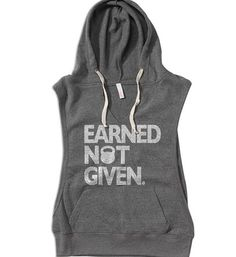 Earned Not Given gym tank. Womens sleeveless hoodie. Lightweight womens gym jacket. gym pullover. gym tank. open side sweater.