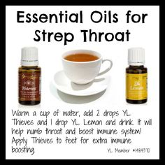 Young Living essential oils to use for sore/strep throat! #healthyinsanitymom #essentialoils #strepremedies