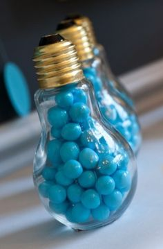"""chapter idea file ~ give """"bright bulb"""" academic awards to your brightest sisters by filling lightbulbs with colorful candy. Cute idea!"""
