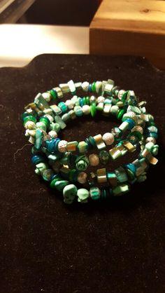 Green, silver and aqua