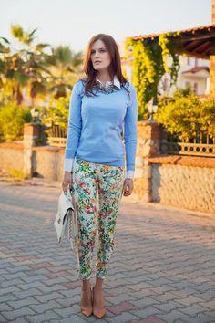 sky blue Gap jumper - white Forever New bag - nude Zara heels - white Zara pants