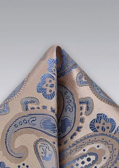 Paisley Handkerchief in Champagne and Blue