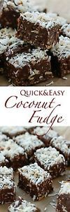 Dark Chocolate Coconut Fudge is filled with sweet, chewy bits of coconut and then topped with a generous sprinkling of coconut for a crunchy, chewy, chocolate-y fudge that will have you coming back for... Chocolate Pancakes, Chocolate Marshmallows, Chocolate Desserts, Coconut Recipes, Fudge Recipes, Candy Recipes, Cookie Recipes, Vegan Recipes, Chocolate Coconut Fudge Recipe
